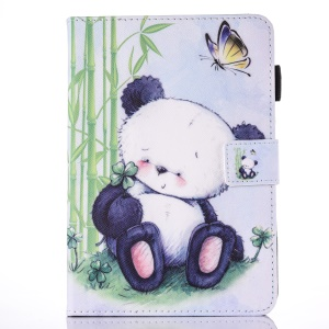 For iPad 9.7 (2017) Pattern Printing Leather Card Holder Stand Case - Cute Panda