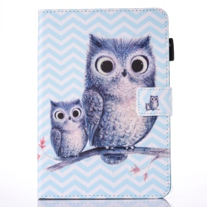 For iPad 9.7 (2017) Printing Pattern Flip Leather Card Holder Protective Cover - Owls on Branch