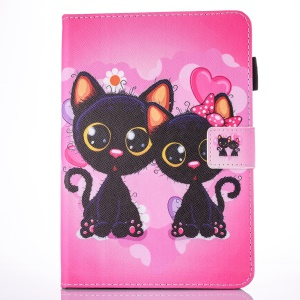 For iPad 9.7 (2017) Printing Pattern Leather Card Slot Stand Shell - Two Lovely Cats