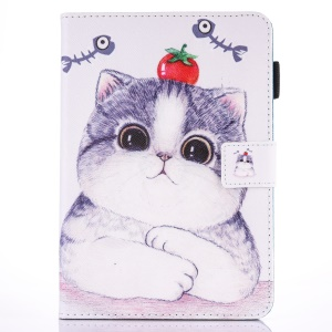 Pattern Printing Card Holder Leather Tablet Cover Shell for iPad 9.7 inch (2017) - Adorable Cat