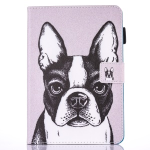For iPad 9.7 (2017) Pattern Printing Card Holder Leather Folio Flip Case with Stand - Dog