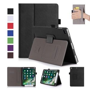 For iPad 9.7-inch (2017) Awakening Smart Leather Case with SIM/Credit Card Slots - Black