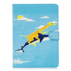 Pattern Printing Leather Wallet Stand Case Accessory for iPad Pro 9.7 inch - Giraffe is Riding Dolphin