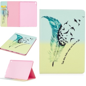 Pattern Printing Leather Wallet Case for iPad Pro 10.5-inch - Feather Pattern