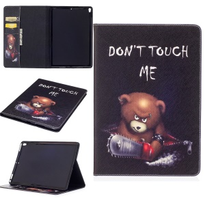 Pattern Printing Folio Flip Leather Protection Cover for iPad Pro 10.5-inch - Brown Bear and Warning Words