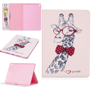 For iPad Pro 10.5-inch Pattern Printing Leather Wallet Stand Shell - Adorable Giraffe Wearing Glasses