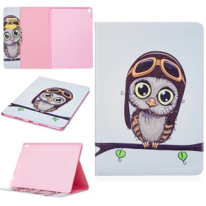 For iPad Pro 10.5-inch Pattern Printing PU Leather Stand Wallet Case Cover - Adorable Owl