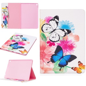 For iPad Pro 10.5-inch Pattern Printing Leather Wallet Stand Protective Mobile Casing - Vivid Butterflies