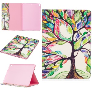 For iPad Air 10.5 (2019) / Pro 10.5-inch (2017) Pattern Printing Leather Wallet Case with Stand - Colorized Tree