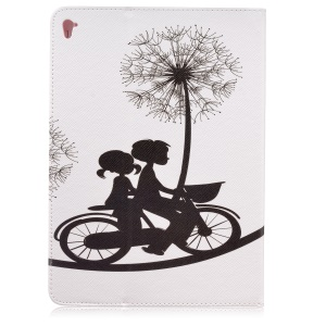 Patterned Wallet Leather Case with Stand for iPad Pro 9.7 inch - Lovers Riding Bike and Dandelions