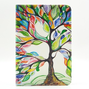 Pattern Printing Leather Wallet Flip Tablet Shell for iPad Mini 4 - Colorized Tree