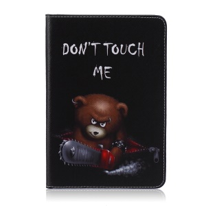 Pattern Printing Wallet Leather Protective Cover for iPad Mini 4 - Brown Bear and Warning Words