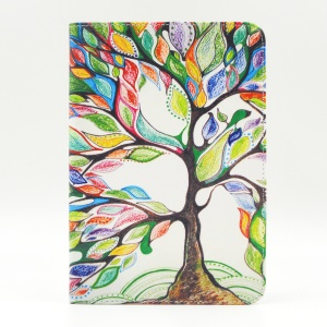 Pattern Printing Leather Wallet Cover With Stand for iPad mini 1 2 3 - Colorized Tree