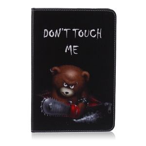 Pattern Printing Leather Wallet Tablet Cover for iPad mini 1 2 3 - Brown Bear and Warning Words