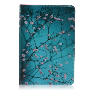 Pattern Printing Leather Wallet Cover With Stand for iPad mini 1 2 3 - Tree with Flowers