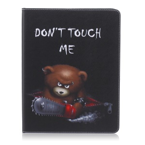 Pattern Printing Leather Wallet Flip Shell for iPad 2/3/4 - Brown Bear and Warning Words