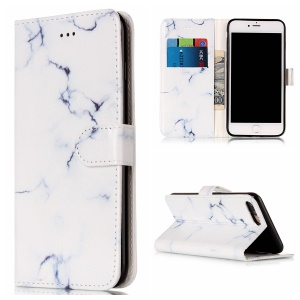 For iPhone 8 Plus / 7 Plus Pattern Printing Wallet Leather Phone Case with Stand - White Marble Pattern