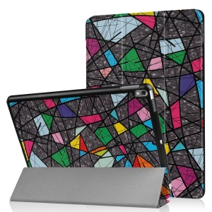 Patterned Leather Tri-fold Stand Protector Cover for Huawei MediaPad T2 7.0 - Colorful Geometric Pattern
