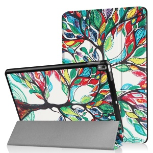 Patterned Leather Tri-fold Stand Protector Shell for Huawei MediaPad T2 7.0 - Colored Tree Painting