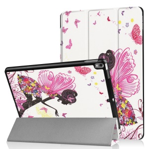 Patterned Leather Tri-fold Stand Protective Case for Huawei MediaPad T2 7.0 - Fairy and Butterflies