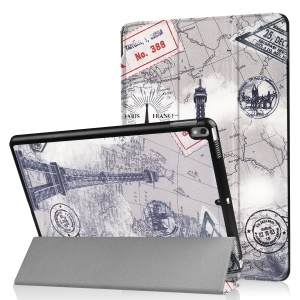 Patterned Leather Tri-fold Stand Protection Case for Huawei MediaPad T2 7.0 - Eiffel Tower and Map