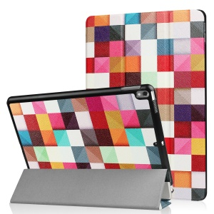 Patterned Leather Tri-fold Stand Cover Casing for Huawei MediaPad T2 7.0 - Colorful Triangle Grid