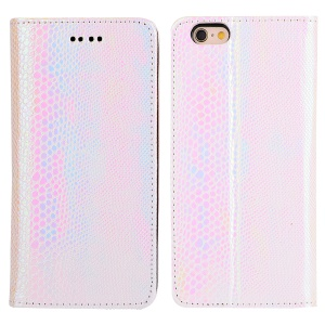 Fancy Snake Skin Wallet Leather Stand Mobile Casing for iPhone 6s / 6 - White