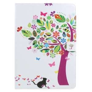 Mobile Accessory Pattern Printing Leather Wallet Stand Case for iPad 9.7 (2017) - Colorized Tree