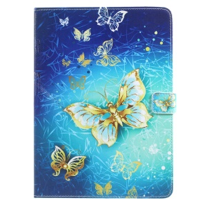 For iPad 9.7 (2017) Patterned Folio Leather Wallet Stand Shell - Beautiful Butterflies