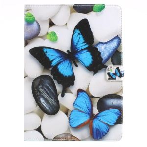 Pattern Printing Leather Wallet Stand Tablet Case for iPad 9.7 (2017) - Blue Butterflies and Pebbles