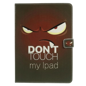 For iPad 9.7 (2017) Wallet Stand Leather Double Sides Pattern Printing Cover - Angry Expression and Warning Words