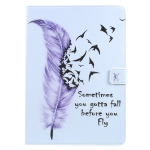 Printing Pattern Stand Leather Card Slots Tablet Shell for iPad 9.7 (2017) - Feather and Quote
