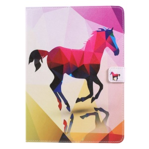 Foldable Printing Pattern Wallet Leather Pad Casing Accessory for iPad 9.7 (2017) - Horse