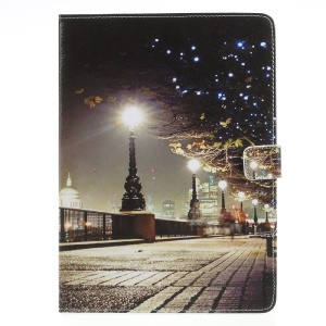 Patterned Stand Leather Wallet Folio Case Cover for iPad 9.7 (2017) - Night Scene