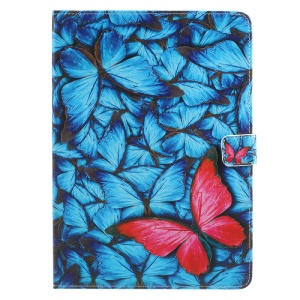 For iPad 9.7 (2017) Stand Leather Pattern Printing Folio Tablet Shell - Pretty Butterflies