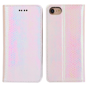 For iPhone 7 Plus Fancy Snake Texture Wallet Stand Leather Mobile Casing - Pink