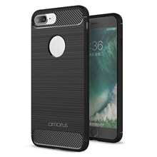 AMORUS Carbon Fiber Texture Brushed TPU Mobile Phone Shell for iPhone 7 Plus 5.5 inch - Black