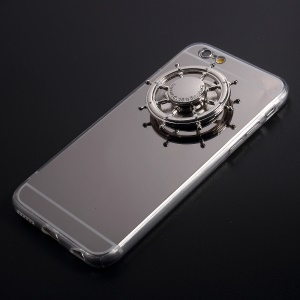 EDC Rudder Fidget Spinner Toy Electroplated Mirror-like Acrylic TPU Back Case for iPhone 6s 6 - Silver