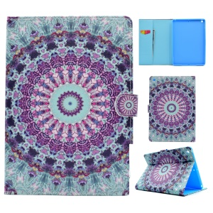 Pattern Printing Leather Wallet Tablet Case for iPad 9.7 (2017) - Cyan and Purple Bohemia Pattern