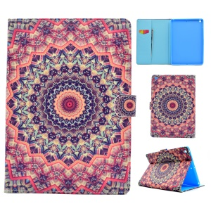 Pattern Printing Leather Wallet Tablet Case for iPad 9.7 (2017) - Orange and Black Bohemia Pattern