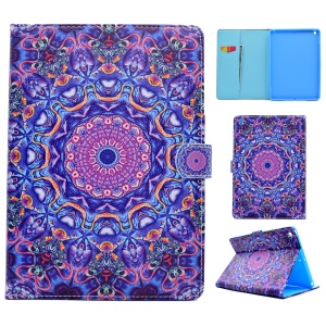 Pattern Printing Leather Wallet Tablet Case for iPad 9.7 (2017) - Purple and Blue Bohemia Pattern