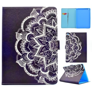 Pattern Printing Leather Wallet Tablet Case for iPad 9.7 (2017) - Half Henna Lotus