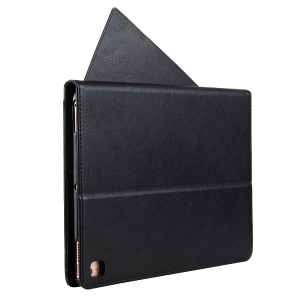 CMAI2 Leather Card Slots Flip Case with Stylus Pen Holder for iPad Pro 9.7 inch - Black