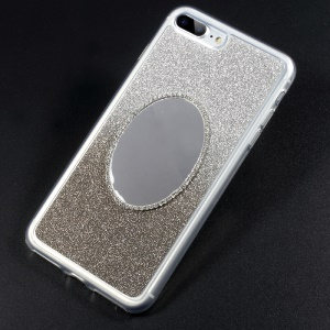 Gradient Color Bling Flash Powder Diamonte Mirror TPU Soft Case for iPhone 7 Plus - Grey