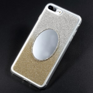Bling Flash Powder Diamonte Mirror TPU Gradient Color Back Case for iPhone 7 Plus - Gold