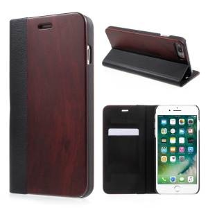 Real Wood Litchi Grain PU Leather + Plastic Mobile Shell with Card Slot for iPhone 8 Plus / 7 Plus 5.5 inch - Wine Red