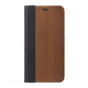 Real Wood Litchi Skin Leather + Plastic Phone Cover with Card Slot for iPhone 8 Plus / 7 Plus 5.5 inch - Coffee
