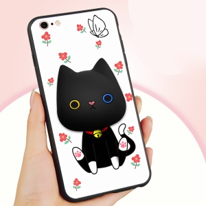 3D Patterned Soft Silicone Phone Back Case with Cable Winder for iPhone 6s 6 - Playful Cat and Red Flowers