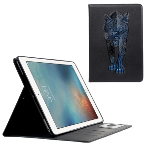 For iPad 9.7 (2018) / 9.7 (2017) Imprint 3D Pattern Smart Wallet Stand Leather Tablet Case - Blue Wolf
