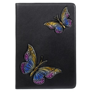 For iPad 9.7 (2018) / 9.7 (2017) Imprint 3D Pattern Smart Wallet Foldable Leather Case Accessory - Colorful Butterflies